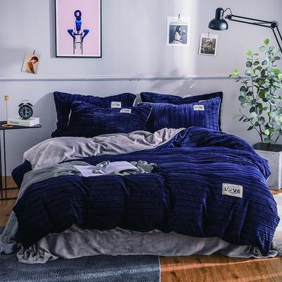 2019新款简易针织纹宝宝绒牛奶绒法莱绒水晶绒四件套 1.8m(床笠款四件套) 宝蓝
