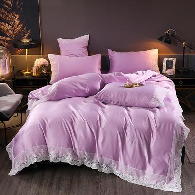 2020新款水洗真丝四件套 1.5m床单款四件套 浅紫