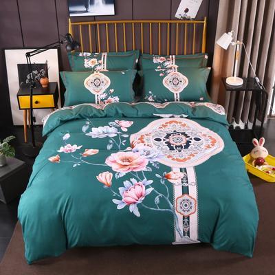 2018新款大版活性磨毛 1.5m(5英尺)床 纳兰风尚-墨绿