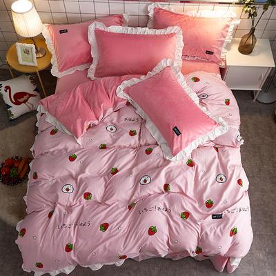 2018新款韩版小清新棉加绒四件套 1.8m(6英尺)床 草莓粉