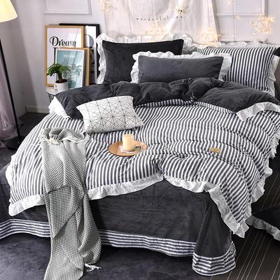 2018新款韩版小清新棉加绒四件套 1.8m(6英尺)床 灰条纹