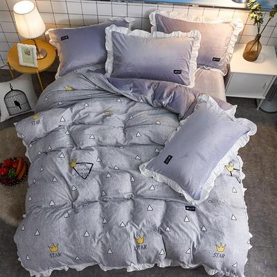 2018新款韩版小清新棉加绒四件套 1.8m(6英尺)床 慢时光