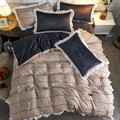 2018新款韩版小清新棉加绒四件套 1.8m(6英尺)床 喵星人