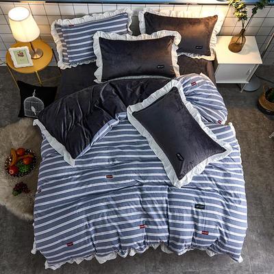 2018新款韩版小清新棉加绒四件套 1.8m(6英尺)床 绅士风