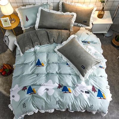 2018新款韩版小清新棉加绒四件套 1.8m(6英尺)床 物之语