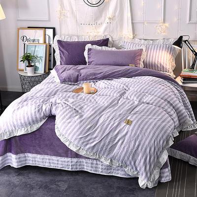 2018新款韩版小清新棉加绒四件套 1.8m(6英尺)床 紫色条纹