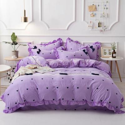 2018新款牛奶绒四件套 1.5m(5英尺)床 明艳紫