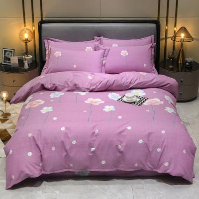 2019秋冬新品-全棉加厚磨毛四件套 床单款四件套1.8m(6英尺)床 艾丽莎 粉