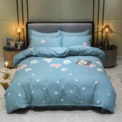 2019秋冬新品-全棉加厚磨毛四件套 床单款四件套1.8m(6英尺)床 艾丽莎 蓝