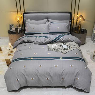 2019秋冬新品-全棉加厚磨毛四件套 床单款四件套1.8m(6英尺)床 安洛卡 灰