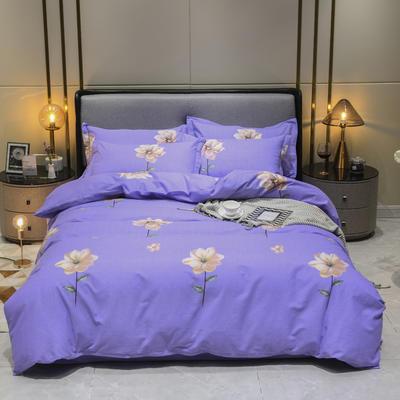 2019秋冬新品-全棉加厚磨毛四件套 床单款四件套1.8m(6英尺)床 纯爱印象 紫
