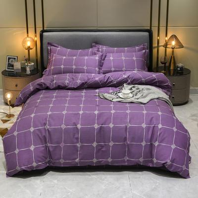 2019秋冬新品-全棉加厚磨毛四件套 床单款四件套1.8m(6英尺)床 点彩年华 紫