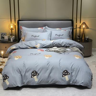 2019秋冬新品-全棉加厚磨毛四件套 床单款四件套1.8m(6英尺)床 欢乐园 灰