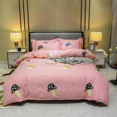 2019秋冬新品-全棉加厚磨毛四件套 床单款三件套1.2m(4英尺)床 欢乐园-粉