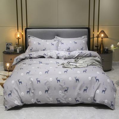 2019秋冬新品-全棉加厚磨毛四件套 床单款三件套1.2m(4英尺)床 林之鹿语