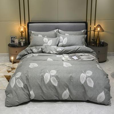 2019秋冬新品-全棉加厚磨毛四件套 床单款四件套1.8m(6英尺)床 若华 灰