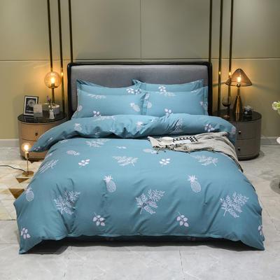2019秋冬新品-全棉加厚磨毛四件套 床单款四件套1.8m(6英尺)床 香水菠萝 蓝