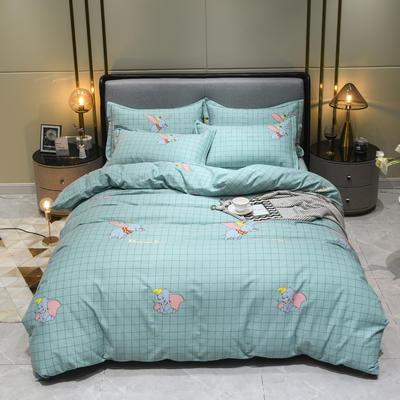 2019秋冬新品-全棉加厚磨毛四件套 床单款三件套1.2m(4英尺)床 小象绿