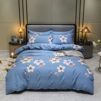 2019秋冬新品-全棉加厚磨毛四件套 床单款四件套1.5m(5英尺)床 一抹幽蓝 蓝