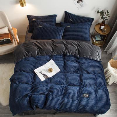 2019新款秋冬新品魔法绒宝宝绒水晶绒四件套 1.5m-1.8m床单款 深蓝