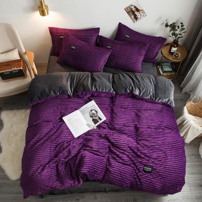 2019新款秋冬新品魔法绒宝宝绒水晶绒四件套 1.5m-1.8m床单款 紫色