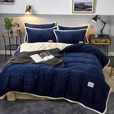 2019新品-色织提花牛奶绒宝宝绒四件套 床单款1.5m(5英尺)床 暖藏青