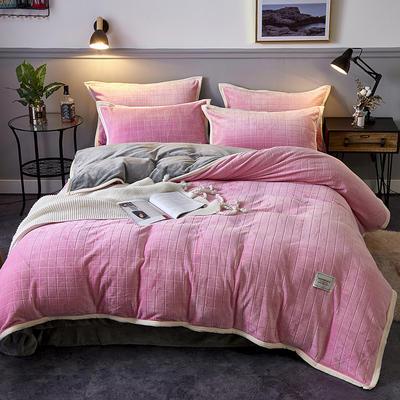 2019新品-色织提花牛奶绒宝宝绒四件套 床单款1.5m(5英尺)床 暖粉色
