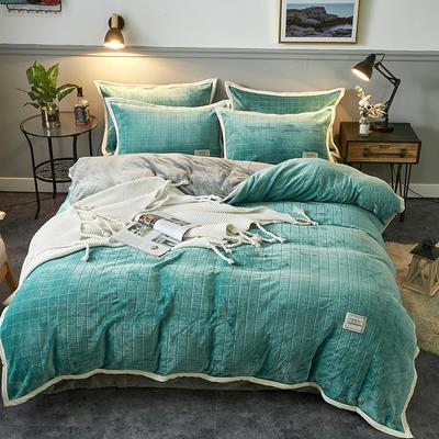 2019新品-色织提花牛奶绒宝宝绒四件套 床单款1.5m(5英尺)床 暖湖绿