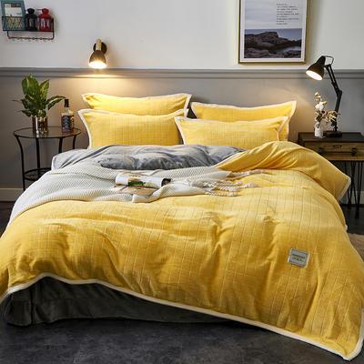 2019新品-色织提花牛奶绒宝宝绒四件套 床单款1.5m(5英尺)床 暖黄色