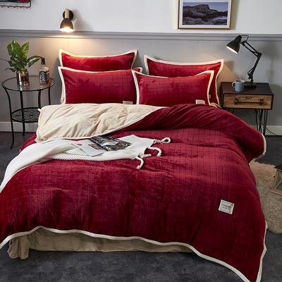 2019新品-色织提花牛奶绒宝宝绒四件套 床单款1.5m(5英尺)床 暖酒红