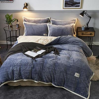 2019新品-色织提花牛奶绒宝宝绒四件套 床单款1.5m(5英尺)床 暖浅灰
