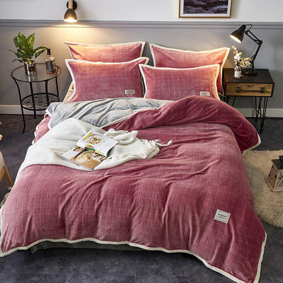 2019新品-色织提花牛奶绒宝宝绒四件套 床单款1.5m(5英尺)床 暖深豆沙
