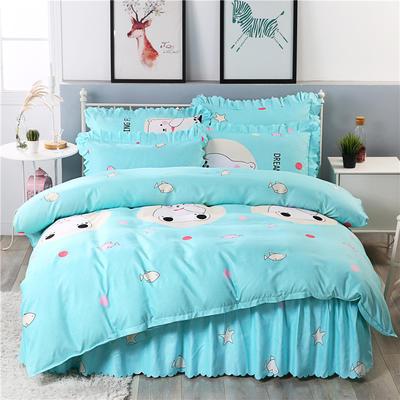 2018新款-加厚生态长绒棉床裙款四件套 2.0m(6.6英尺)床 馋嘴熊