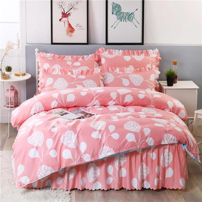 2018新款-加厚生态长绒棉床裙款四件套 2.0m(6.6英尺)床 浅浅苏夏粉