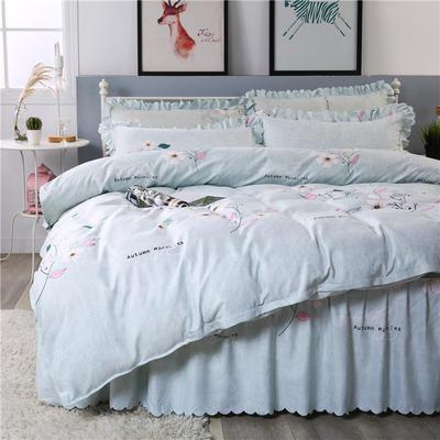 2018新款-加厚生态长绒棉床裙款四件套 2.0m(6.6英尺)床 似水柔情