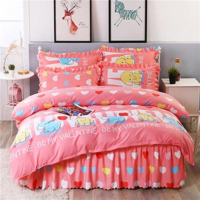2018新款-加厚生态长绒棉床裙款四件套 2.0m(6.6英尺)床 天真浪漫