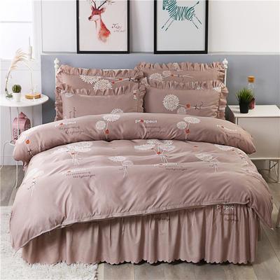 2018新款-加厚生态长绒棉床裙款四件套 1.2m(4英尺)床 幸福表白