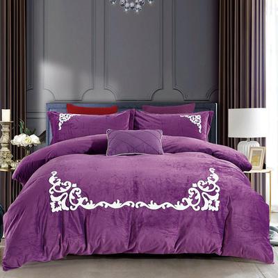 2018新款-水晶绒毛巾绣四件套 1.5-1.8m床 望角的爱-冷艳紫