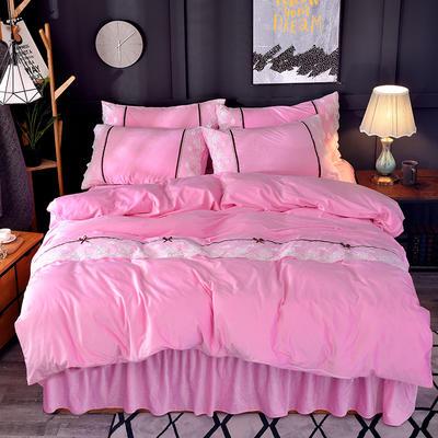 2018新款-韩版宝宝绒花边床裙款四件套 1.5m(5英尺)床 粉色