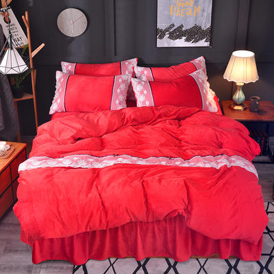 2018新款-韩版宝宝绒花边床裙款四件套 1.5m(5英尺)床 红色