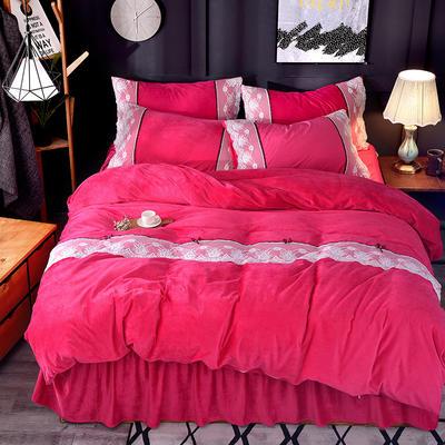 2018新款-韩版宝宝绒花边床裙款四件套 1.5m(5英尺)床 玫红色