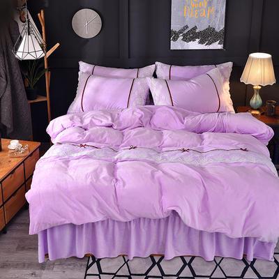 2018新款-韩版宝宝绒花边床裙款四件套 1.5m(5英尺)床 紫色