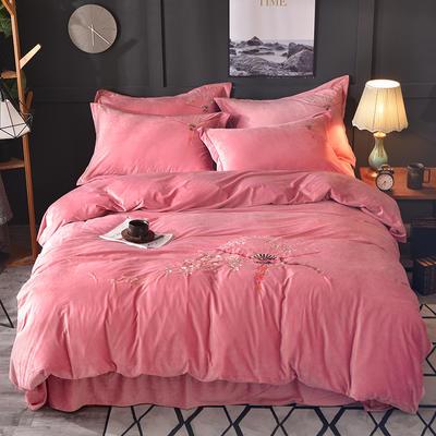 2018新款-水晶绒四件套 1.5m(5英尺)床 闭月羞花-豆沙