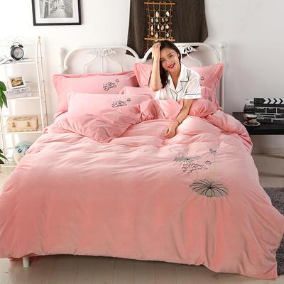 2018新款-水晶绒四件套 1.8m(6英尺)床 娇艳花朵--玉色