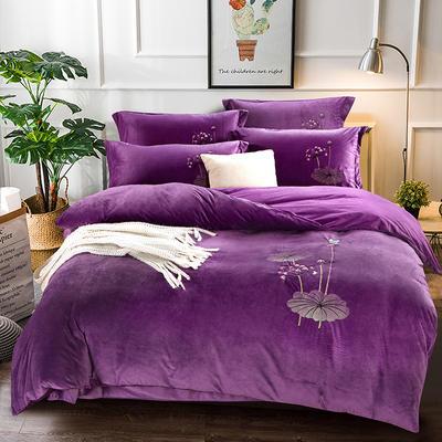 2018新款-水晶绒四件套 1.8m(6英尺)床 娇艳花朵--紫色