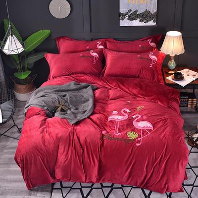 2018新款-水晶绒四件套 1.8m(6英尺)床 火烈鸟-紫红