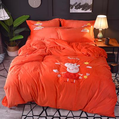 2018新款-水晶绒四件套 1.8m(6英尺)床 小猪佩奇-桔红