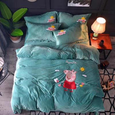 2018新款-水晶绒四件套 1.8m(6英尺)床 小猪佩奇-水绿