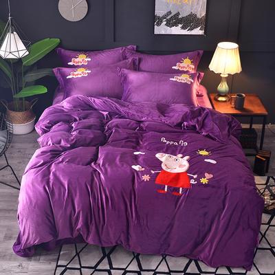 2018新款-水晶绒四件套 1.8m(6英尺)床 小猪佩奇-紫色