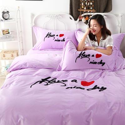 2018新款-水晶绒四件套 1.8m(6英尺)床 至爱生活--雪青